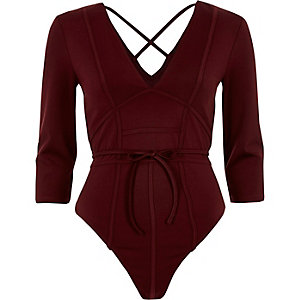Dark red plunge boning bodysuit