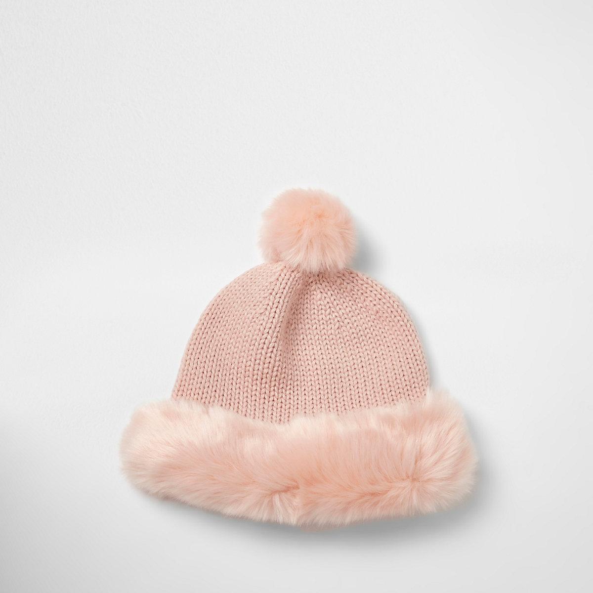 6c7080e0308 Light pink faux fur trim beanie hat - Accessories - Sale - women