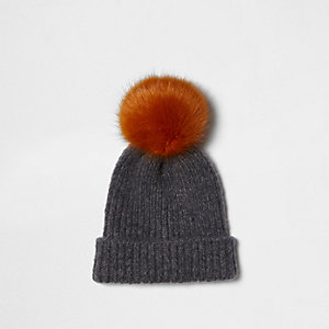 Light grey faux fur bobble beanie hat