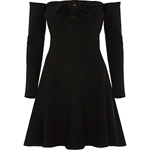 Black bardot long sleeve skater dress
