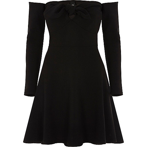 Black bardot long sleeve skater dress