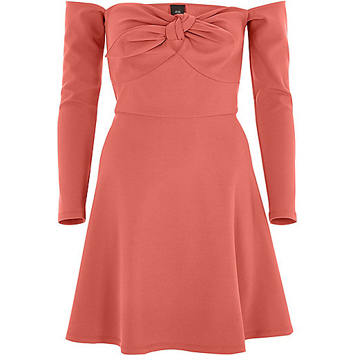 Dark orange bardot long sleeve skater dress