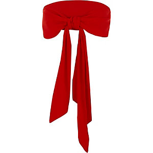 Red wide waist tie front belt