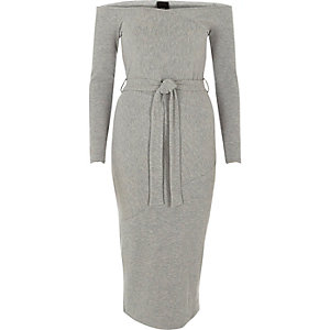 Light grey bardot tie waist midi dress