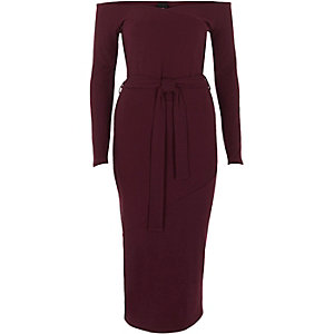 Burgundy bardot tie waist midi dress