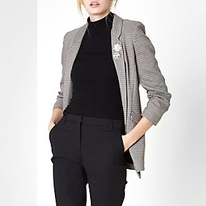 Cream heritage check ruched sleeve blazer