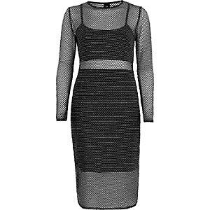 Zilverkleurige metallic mesh midi-jurk met dubbele laag