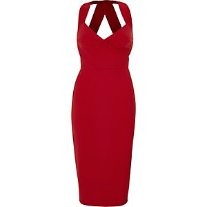 Red wrap front fitted midi dress