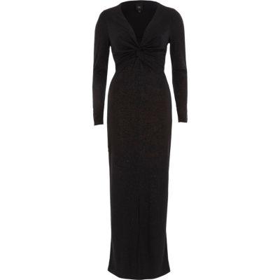 River Island Zwarte bodycon maxi-jurk met glitter en strik voor