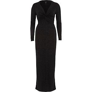 Robe longue moulante noire à paillettes nouée sur le devant