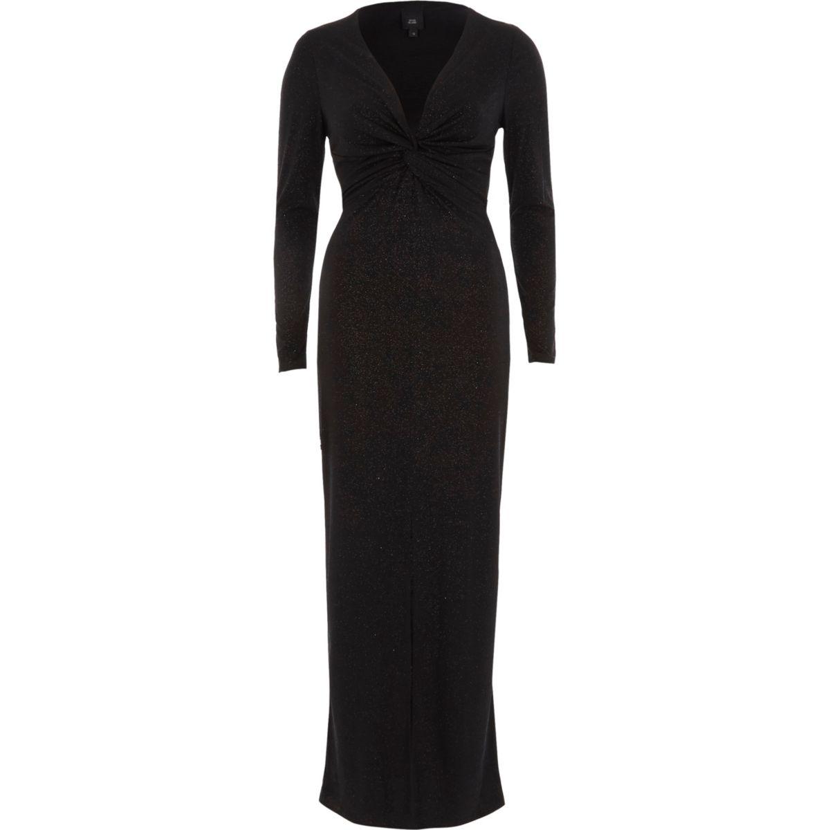 Black glitter knot front bodycon maxi dress