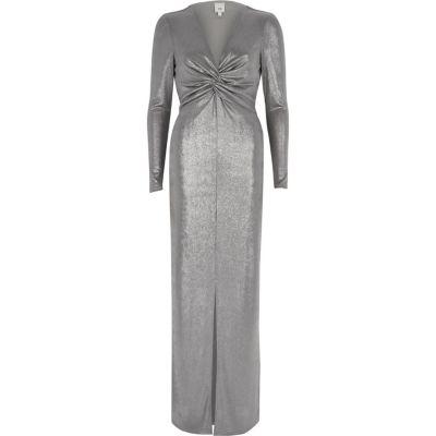 River Island Zilverkleurige bodycon maxi-jurk met knoop voor
