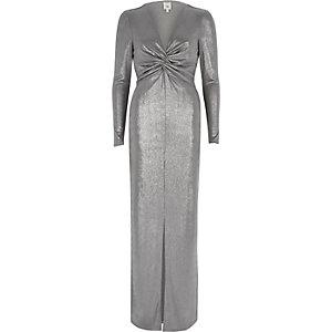 Zilverkleurige bodycon maxi-jurk met knoop voor