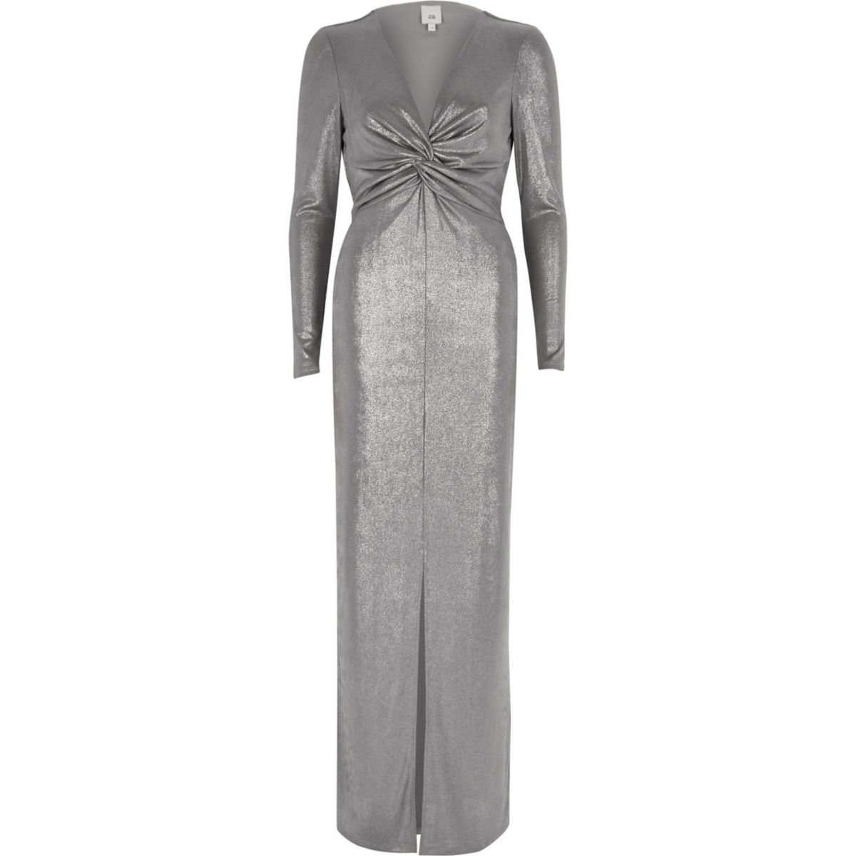 Silver metallic knot front bodycon maxi dress