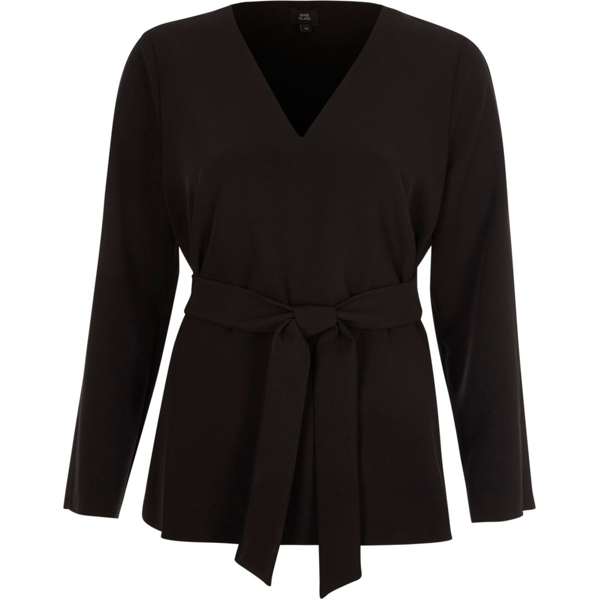 Black long split sleeve tie waist top
