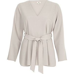 Light grey long split sleeve tie waist top
