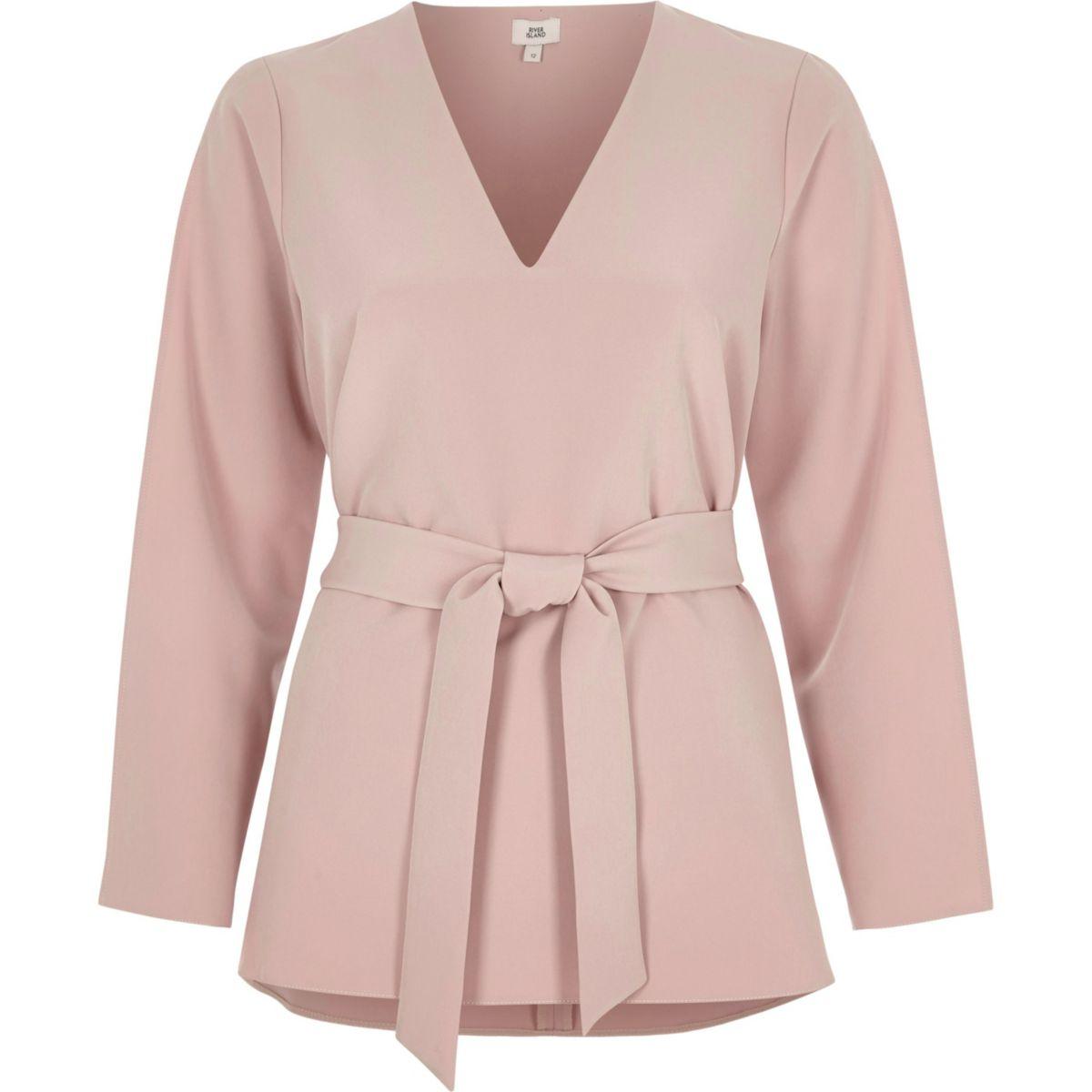 Light pink long split sleeve tie waist top