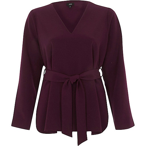 Dark red split sleeve tie waist top