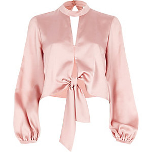 Pink satin choker long sleeve crop top