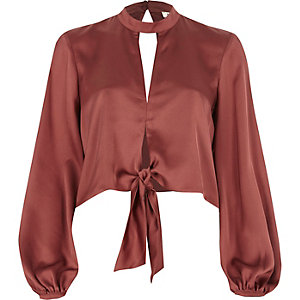 Dark pink satin choker long sleeve crop top