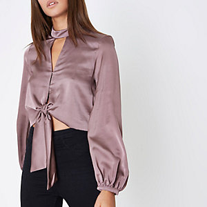 Dark purple satin choker long sleeve crop top