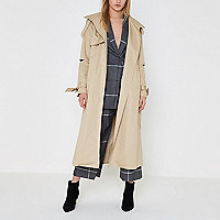 Beige deconstructed sleeve long trench coat