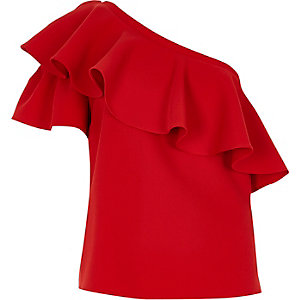 Red frill one shoulder top