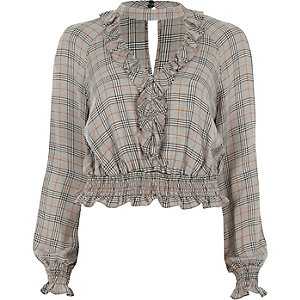 Grey check print choker neck frill top
