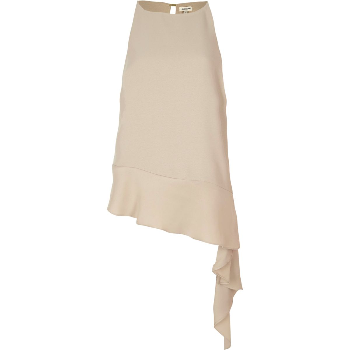 Light beige asymmetric hem tank