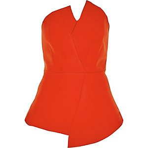 Red asymmetric peplum bandeau top