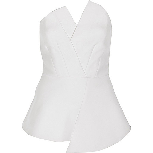 White asymmetric peplum bandeau top
