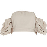 Crop top bandeau beige à manches bouffantes
