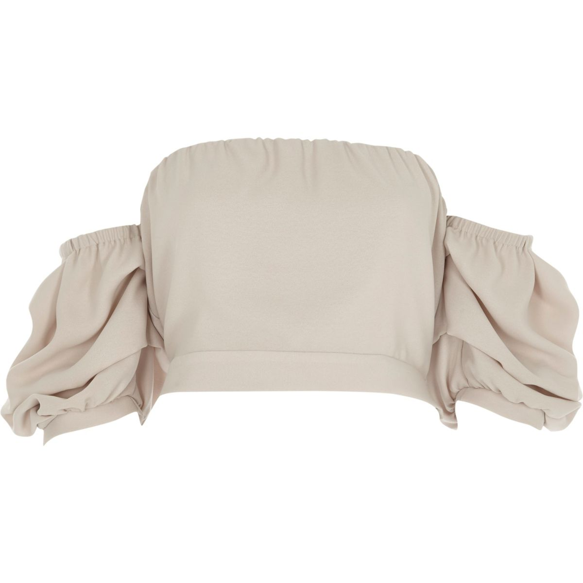 Beige puff sleeve bandeau crop top
