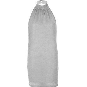 Zilverkleurige mini-jurk met halternek