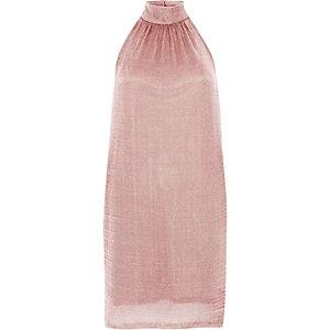 Roségouden gebreide mini-jurk met halterhals