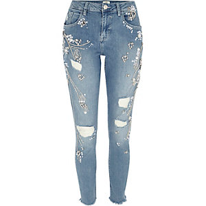 Blue Alannah embellished relaxed skinny jeans
