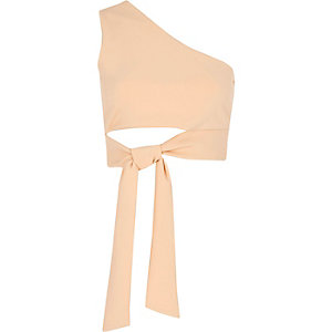 Light pink one shoulder tie front crop top