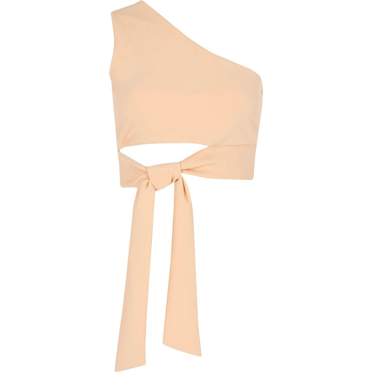 Light pink one shoulder tie front crop top