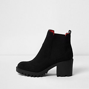 Black faux suede chunky chelsea boots