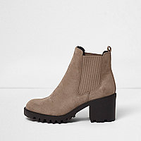 Beige faux suede chunky chelsea boots
