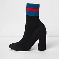 Black block stripe tube sock knit boots