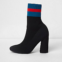 Black block stripe tube sock knit boots