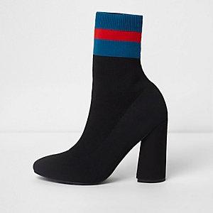Bottes noires avec effet chaussette en maille à rayures