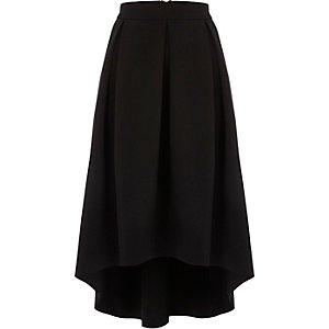 Black scuba high-low midi skirt