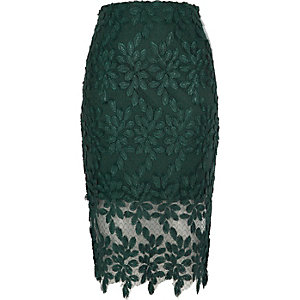 Dark green floral lace and mesh pencil skirt