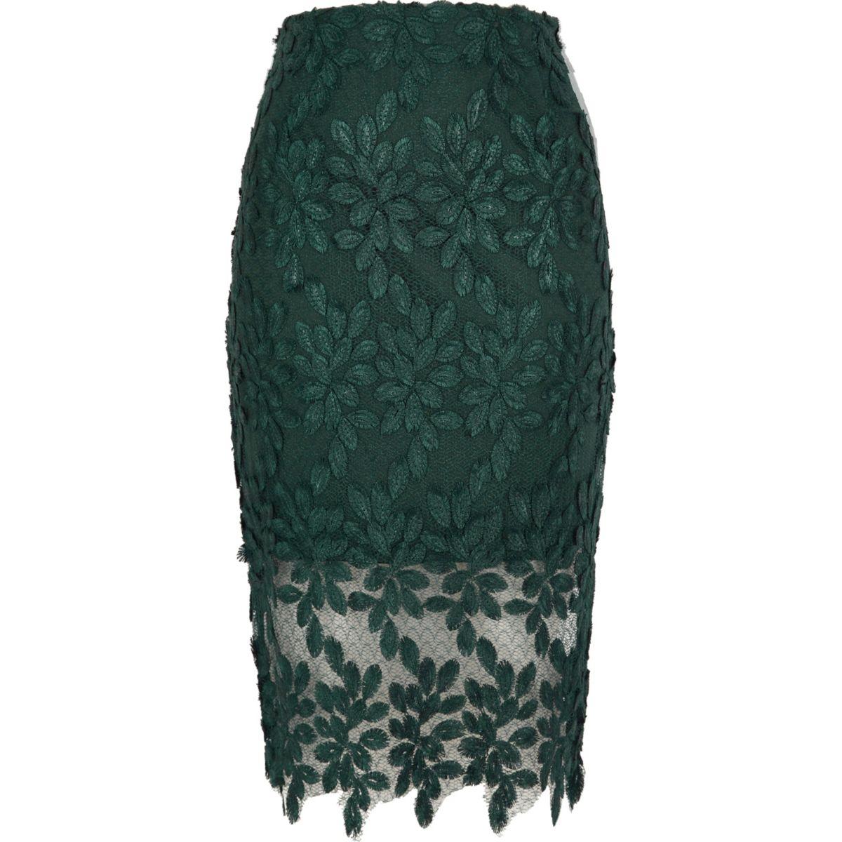 jupe crayon en tulle et dentelle fleurs vert fonc jupes promo femme. Black Bedroom Furniture Sets. Home Design Ideas