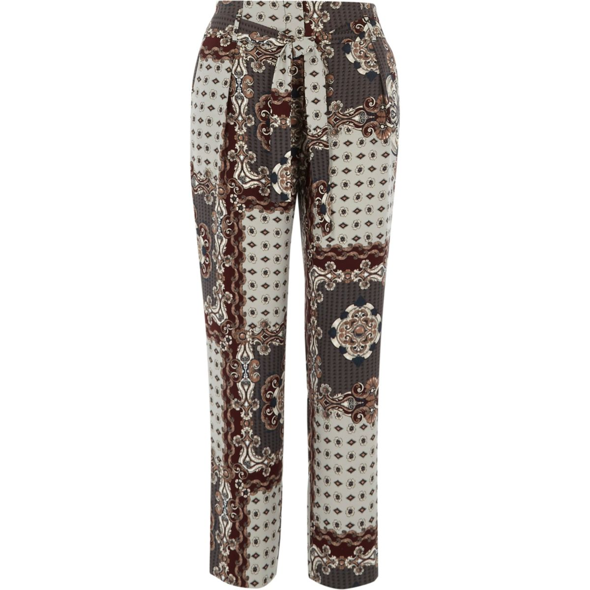 Grey scarf print tie waist tapered trousers