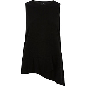 Black layered frill hem tank top