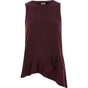 Dark red layered frill hem tank top