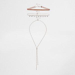 Light pink velvet rhinestone pendant choker set